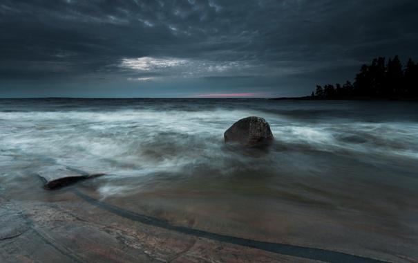 Фото обои море, ночь, камни