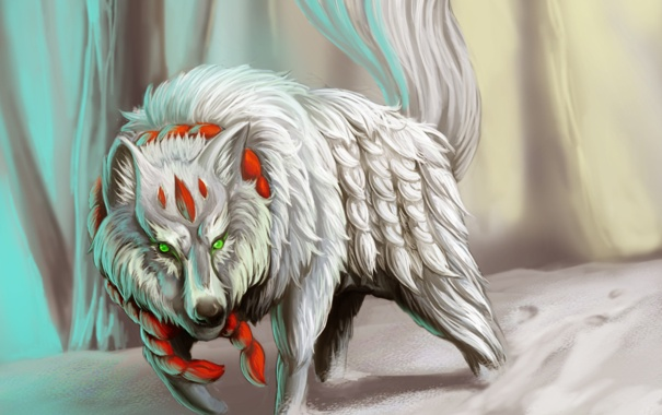 Фото обои белый, снег, волк, хищник, веревка, арт