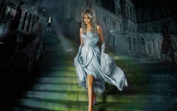 Фото обои Девушка, платье, лестница, дворец, Золушка, туфелька