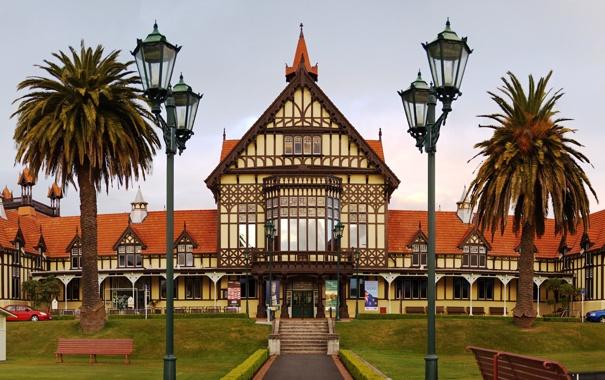 Фото обои город, пальмы, Новая Зеландия, фонарь, музей, New Zealand, museum