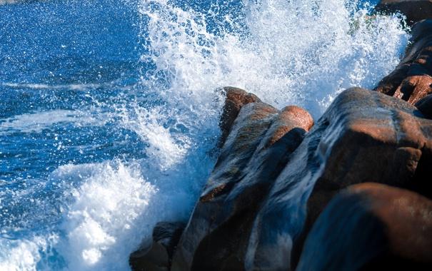 Фото обои море, брызги, камни, скалы