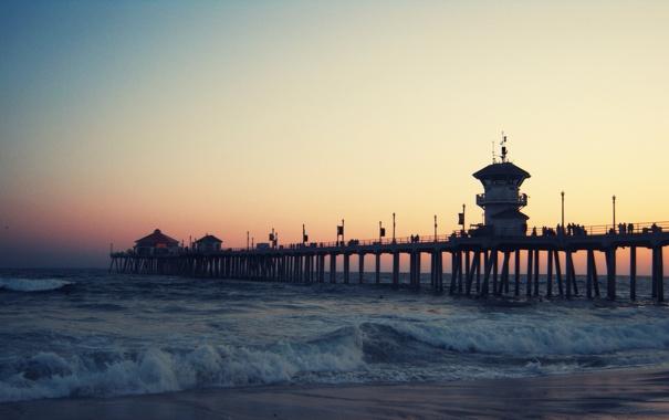 Фото обои море, пристань, вечер