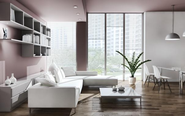 Фото обои стол, лампы, комната, диван, растение, окно, кресла