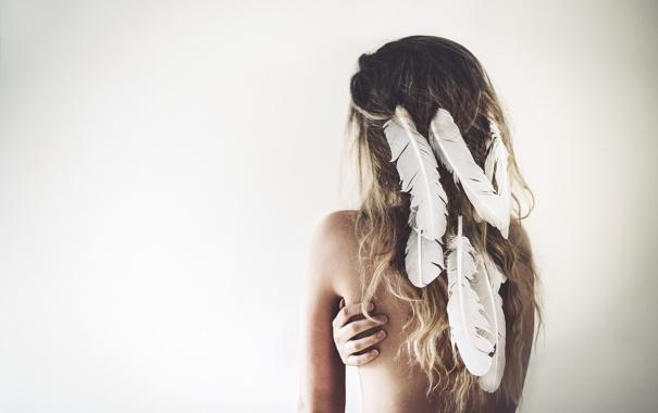 Фото обои девушка, волосы, перья