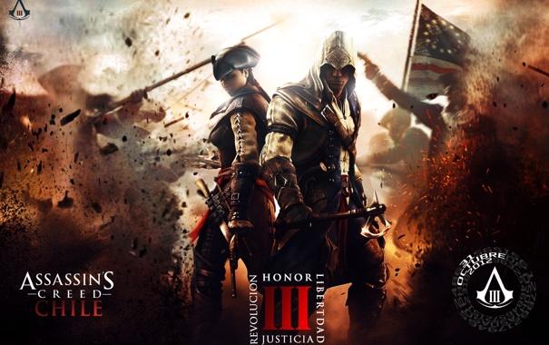 Фото обои взрывы, солдаты, connor kanwey, коннор кенуэй, эвелин, aveline, assassins creed III