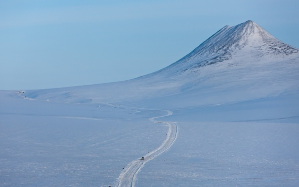 Фото обои зима, снег, пейзаж, гора, Чукотка