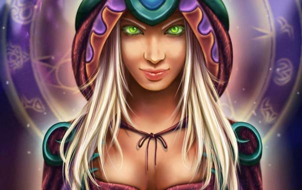 Фото обои глаза, девушка, арт, wow, world of warcraft, blood elf, тюрбан