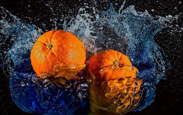 Фото обои вода, брызги, апельсины