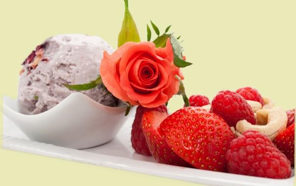 Фото обои цветок, ягоды, малина, роза, еда, клубника, мороженое