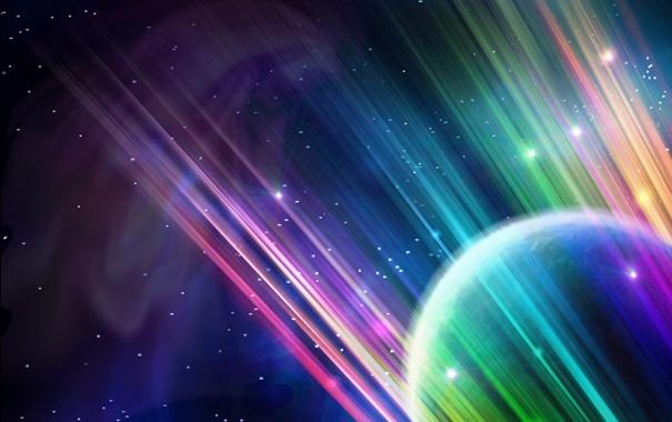 Фото обои линии, rainbow, planet