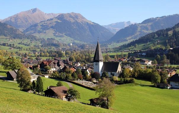 Фото обои пейзаж, трава, фото, город, Fribourg, дома, горы