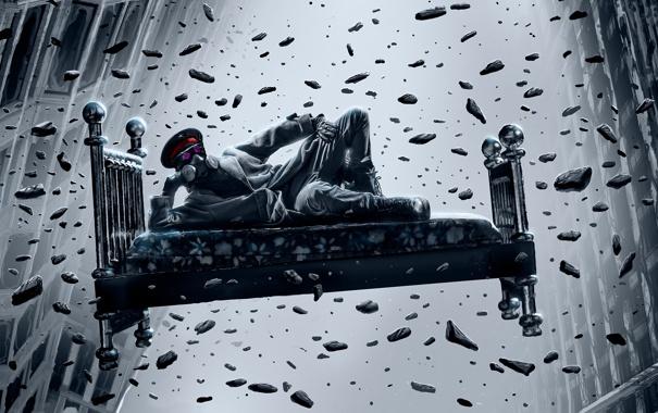 Фото обои кровать, противогаз, art, Romantically Apocalyptic, alexiuss, gravity, zee captain