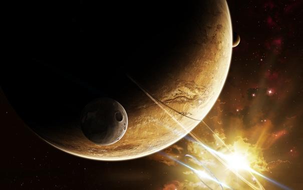 Фото обои свет, планеты, кратер, спутники