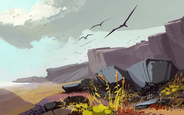Фото обои птицы, камни, арт, полёт, нарисованный пейзаж