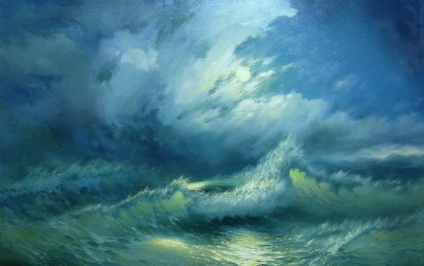 Фото обои море, пейзаж, синий, сияние, луна, волна, красота