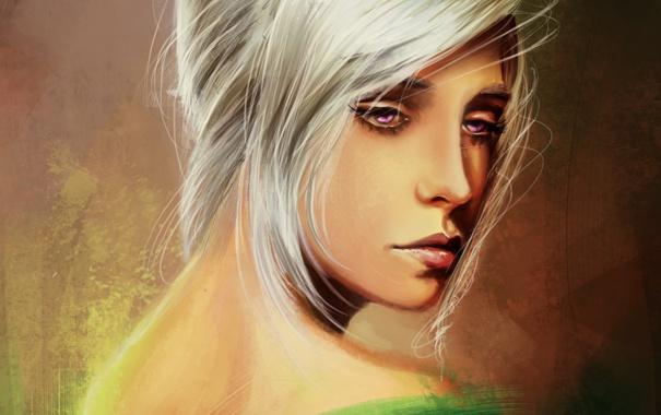 Фото обои грусть, девушка, арт, белые волосы
