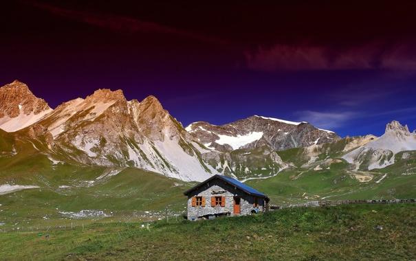 Фото обои пейзаж, горы, природа, дом