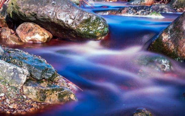Фото обои река, ручей, камни, поток