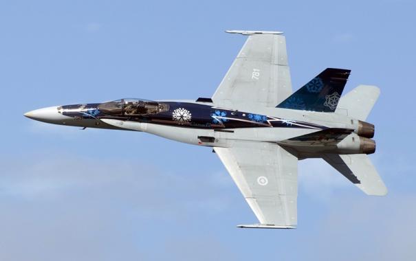 Фото обои небо, истребитель, полёт, многоцелевой, Hornet, McDonnell Douglas, CF-18