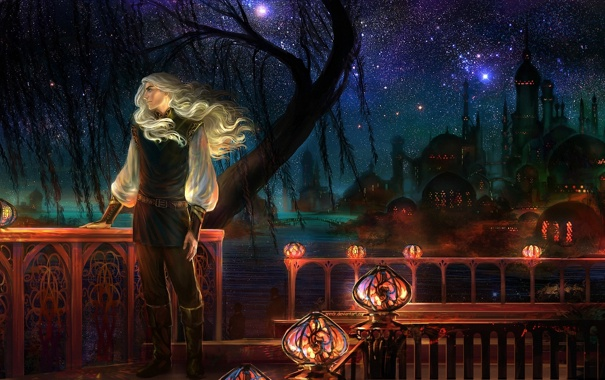 Фото обои ночь, звёзды, фонари, перила, мужчина, веранда, купола
