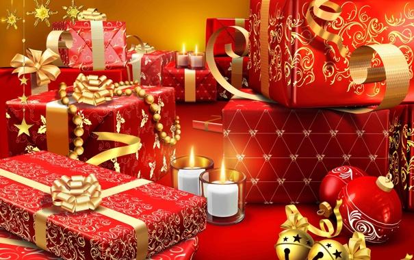 Фото обои свечи, подарки, Новый год