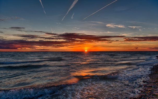 Фото обои море, волны, пейзаж, рассвет