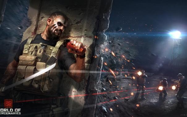 Фото обои осколки, оружие, граната, меч, арт, солдаты, татуировка