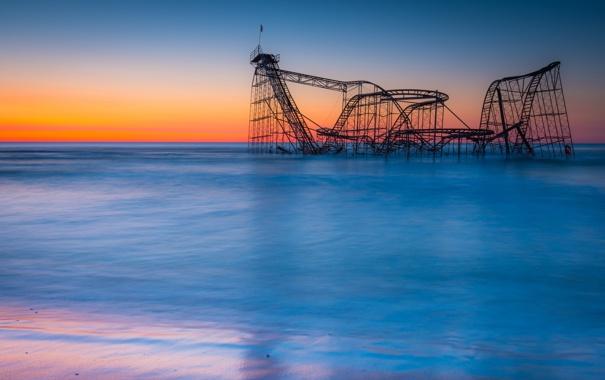 Фото обои море, пейзаж, закат, горки