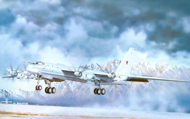 Фото обои небо, снег, горы, тучи, рисунок, арт, аэродром