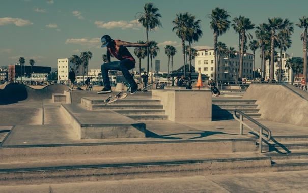 Фото обои город, пальмы, прыжок, лестница, скейтер, доска, скейтборд