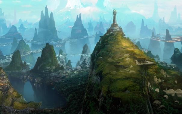 Фото обои зелень, горы, город, скалы, маяк, арт, вид сверху