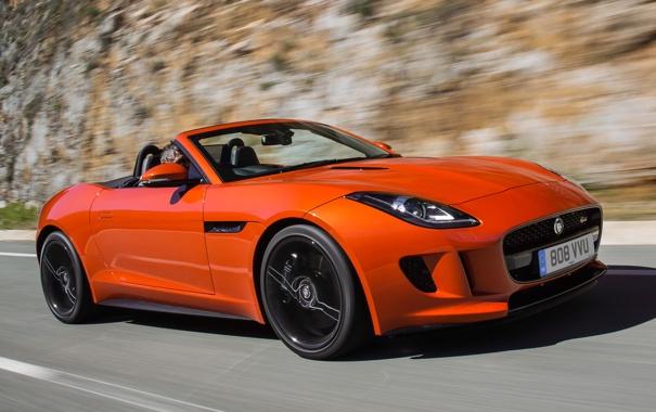 Фото обои car, Jaguar, ягуар, road, красивый, speed, orange