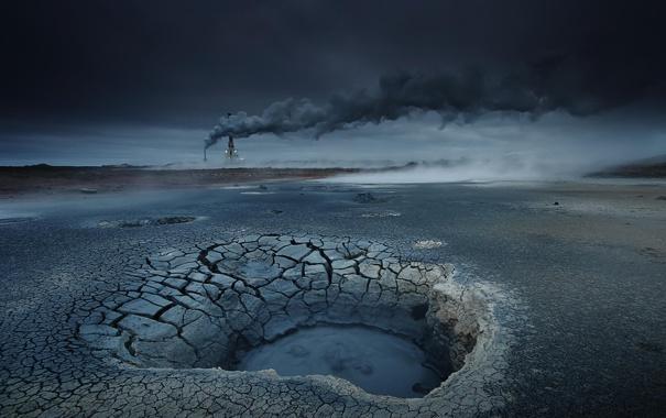 Фото обои природа, дым, вышка, сумерки, высохшее озеро
