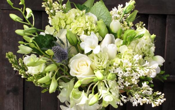 Фото обои цветы, фото, розы, букет, сирень, фрезия, морозник