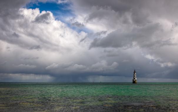Фото обои пейзаж, маяк, море