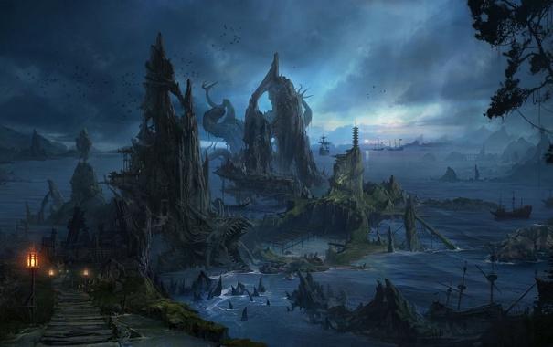 Фото обои море, острова, птицы, ночь, скалы, корабли, арт