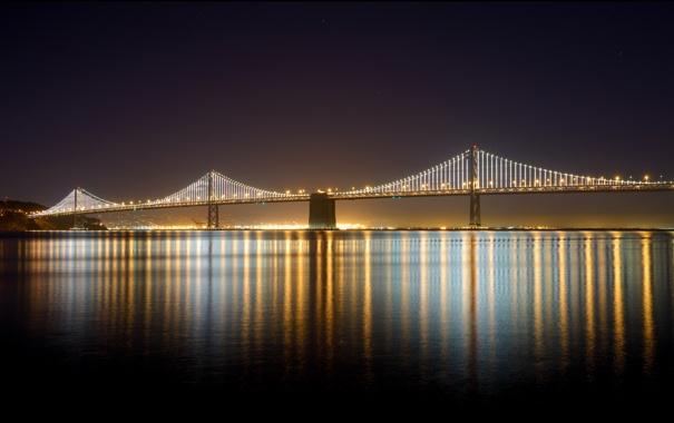 Фото обои вода, свет, ночь, мост, город, отражение, освещение
