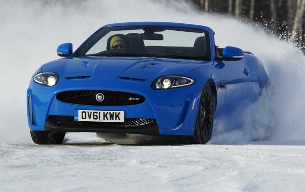 Фото обои снег, синий, jaguar, xkr-s, Convertible