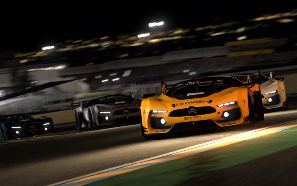 Фото обои ночь, гонка, фары, трек, Gran Turismo 5, citroen survolt concept