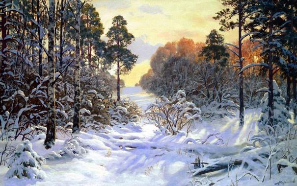 Фото обои зима, лес, свет, снег, деревья, пейзаж, картина