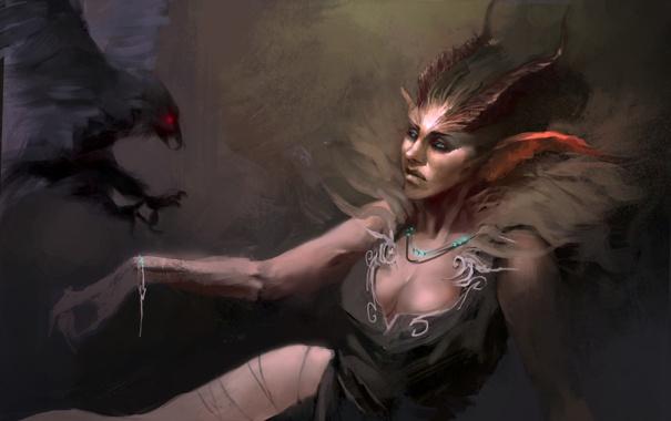Фото обои птица, женщина, демон, рога, ворон