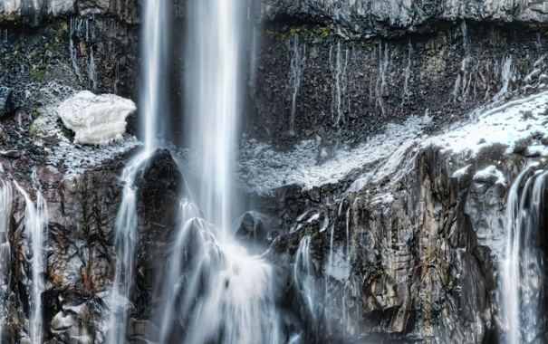 Фото обои зима, скала, водопад