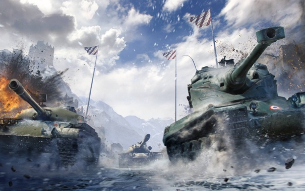 Фото обои Флаги, WoT, Т110Е5, World of Tanks, Мир Танков, Wargaming Net, Объект 140