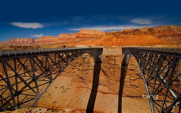 Фото обои высота, тень, каньон, мосты, bing