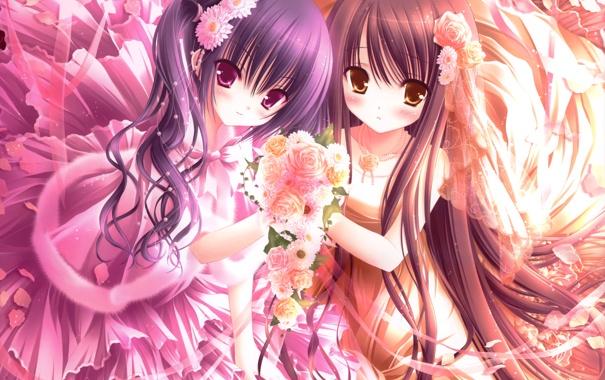 Фото обои цветы, девочки, розы, букет, лепестки, платье, арт