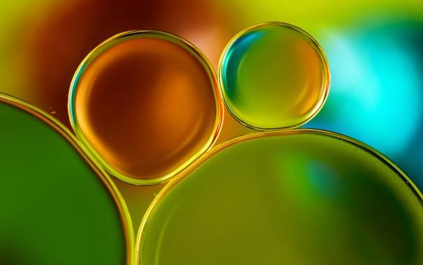 Фото обои пузырьки, шарик, масло, вода, макро, цвет