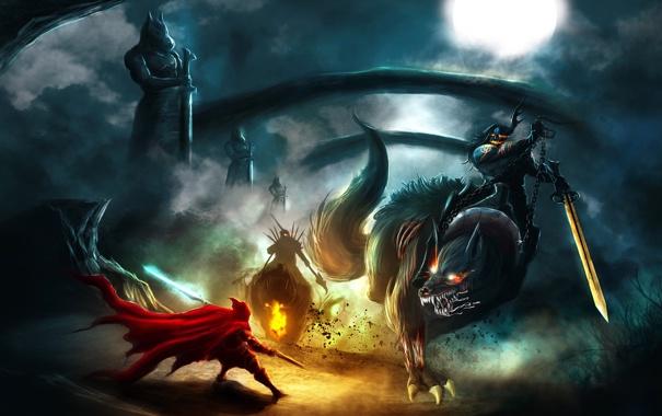 Фото обои животные, ночь, красный, звери, оружие, луна, кровь