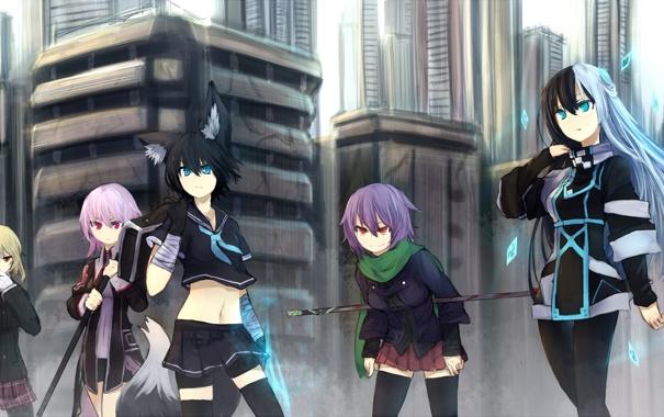 Фото обои город, оружие, девушки, магия, дома, аниме, арт