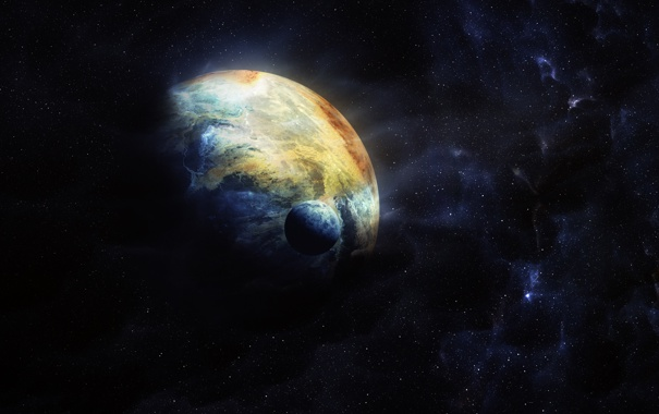 Фото обои космос, звезды, планета, спутник, цвета