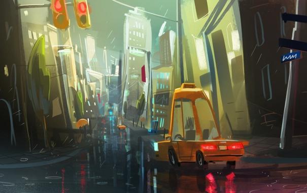 Фото обои дорога, машины, город, дождь, улица, дома, вечер
